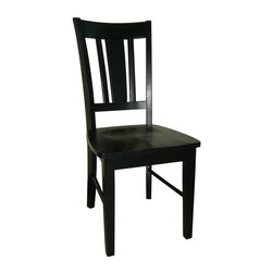 International Concepts - International Concepts San Remo Splatback Chair in Black (Set of 2) - International Concepts - Dining Chairs - C4610P -These ready to assemble chairs come in sets of 2. The splat back chair is accentuated by it's crisp black finish.