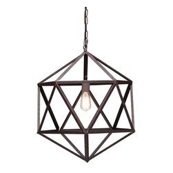 Zuo - Amethyst Small Metal Angular Chandelier - The Amethyst Small Metal Angular Chandelier is the perfect combination of art and soul.  The rust-colored metal chandelier has a triangular pattern that makes it visually appealing while the sturdy steel in an industrial finish lends itself to a different era.  Hang this transitional metal chandelier in your foyer or kitchen area.  The airy design of this chandelier will keep the space open and informal.  For a larger space, take a look at the Amethyst Large Metal Angular Chandelier.