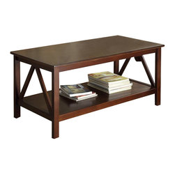 Linon - Linon Titian Coffee Table in Antique Tobacco - Linon - Coffee Tables - 86151ATOB01KDU - Our Titian Collection has a simple yet eye-catching design that is matched with incredible durability. The Coffee Table features a simple body that makes it perfect for any space. A gracious tabletop and spacious bottom shelf provide ample storage and display space. A neutral classic Antique Tobacco finish allows this piece to easily complement your homes decor.