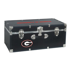Seward Trunk - University of Georgia Storage Trunk - Officially licensed. Front center key lock. One handle on the front. Paper lined to help protect interior contents. Screen printed logo. Heavy gauge vinyl. Nickel hardware and trim. Made from wood. Black finish. Made in USA. 30 in. L x 15.75 in. W x 12.25 in. H (18 lbs.)Storage you can show off!!!