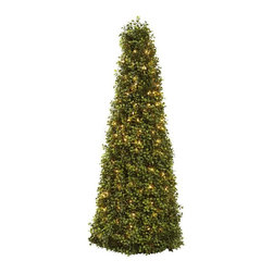 """Nearly Natural - 39 in. Boxwood Cone Tree with Lights - Perfect cone shape. Light to delight all viewer. Great for the holiday or all year round. Green color. 16 in. W x 16 in. D x 39 in. HOne of our favorite shrubs is the boxwood. That's because it's the ideal """"shaping"""" plant. With its tiny, lush evergreen leaves densely surrounding its supporting twigs, the Boxwood conforms to almost any sculpted shape. And in this case, we've chosen a cone shape. At 39 in. in height, it stands tall and proud. But wait  theres a surprise  it comes complete with lights to delight all viewers. Makes an ideal addition to any room or office, and makes a great gift as well."""