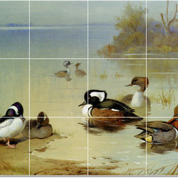 Picture-Tiles, LLC - Buffel Headed Duck American Teal Tile Mural By Archibald Thorburn - * MURAL SIZE: 36x48 inch tile mural using (12) 12x12 ceramic tiles-satin finish.
