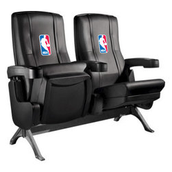 Dreamseat Inc. - NBA Man Row One VIP Theater Seat - Triple - Please note: This item is the 3-seat version. We apologize that we do not have photos of 3 together. Check out these fantastic home theater chairs. These are the same seats that are in the owner's VIP luxury boxes at the big stadiums. It has a rocker back and padded seat, so it's unbelievably comfortable - once you're in it, you won't want to get up. Features a zip-in-zip-out logo panel embroidered with 70,000 stitches. Converts from a solid color to custom-logo furniture in seconds - perfect for a shared or multi-purpose room. Root for several teams? Simply swap the panels out when the seasons change. This is a true statement piece that is perfect for your Man Cave, Game Room, basement or garage.