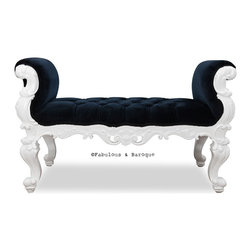 Fabulous & Baroque - Fabulous and Baroque's Absolom Roche Bench - Feast your eyes upon the decadence and true luxury of Fabulous & Baroque's ultimate collection of furniture! Exclusive to Fabulous & Baroque, this striking Absolom Roche bench defines opulence! Created to make a statement, this regal bench invites you to hold court in its divine hand carved curves. Finished white lacquer and upholstered in luxurious crushed black velvet, this bench is a stylish compliment to any bedroom, entry or any place you see fit!