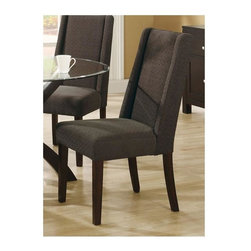 Monarch Specialties - 40 in. Upholstered Dining Chair - Set of 2 (D - Choose Upholstery: Dark BrownSet of 2. High sleek curved chair back. Square tapered legs. Soft and durable linen fabric. 25 in. W x 18 in. D x 40 in. H (38.14 lbs.)