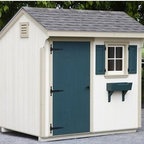 Lancaster County Barns 10 x 6 ft. Quaker Storage Shed - Additional featuresIncludes illustrated step-by-step assembly instructionsInterior measures: 9.3W x 5.3D x 7.5H ft.Door measures: 2.8W x 5.7H ft.Includes 5/8-inch flooring (5 ply : 1 clear side)Customer must supply shingles, paint or stainCustomer supplies all tools required for assembly A place to hide the lawnmower, the half-empty paint cans, and the pool toys, the Lancaster County Barns 10 x 6 ft. Quaker Storage Shed is a great buy. This kit arrives in pre-assembled panels so it's easy to finish it off. Once you have it done, just paint it as you wish, add some shingles, and you've got an attractive and functional place to hide it all away. Hey, there's even room for you in this one if you're looking for a little escape. We won't tell.About Lancaster County BarnsBuilt in proud Amish tradition, the products of Lancaster County Barns are from the heart of Lancaster, Penn., home of Amish craftsmen. Makers of high quality wood horse barns, storage sheds, chicken coops, playhouses, and more, Lancaster County Barns is committed to excellence and customer service. They custom build and ship structures around the world and have been touted by the Philadelphia Home and Gardens Magazine, Penn National Horse Show, and other establishments. Let Lancaster County Barns provide you with old-fashioned quality at a fraction of the price, with a resulting structure you'll be proud to own.Please note this product does not ship to Pennsylvania.