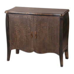 Etoile Antiqued Console Cabinet - Painted Black Finish With Rub Through Distressing. Curved Doors Are Rust Brown With Cloth Texture And Raised Relief. One Fixed Shelf. Bulbs Included: No