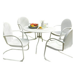 """Crosley - Griffith Metal 40"""" Five Piece Outdoor Dining Set - Griffith Metal 40"""" Five Piece Outdoor Dining Set - 40"""" Dining Table in White Finish with White Finish Chairs Relax outside for hours on our nostalgically inspired Griffith metal outdoor furniture. Kick back while you reminisce in this seating set, designed to withstand the hottest of summer days and other harsh conditions. The furniture's non-toxic, powder-coated finish is available in various colors to complement your outdoor accessories. Features: Sturdy Steel Construction, Non-Toxic Powder Coated Finish, Available In Several Colors,"""