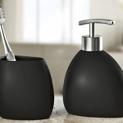 Modern Black Stoneware Bathroom Accessories Set - 2 pieces - Unique luxurious smooth matte black modern bath accessories set.  2 piece set (tumbler and liquid soap / lotion dispenser) .  Substantial weight you can feel the quality of both pieces.  Brushed chrome finish pump on dispenser. Designed and produced in Germany. Tumbler (W) 3.3in x (H) 3.75in ; Dispenser (W) 3.75in x (H) 6.5in - Holds 10oz of soap or lotion.