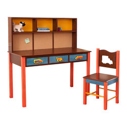 "Boys Like Trucks Desk/Chair set, Chocolate - Our child-size Truck desk and chair set has 3 drawers and lots of desktop space. Set is made in solid hardwood finished with chocolate and colored stains. Chair is solid hardwood and chair back has a truck shaped cut-out.   Includes 3 Truck knobs and truck finial for wave shaped back piece.  Desk is 48""L, 24""D, 28""H.  Chair is 16""D x 16""W x 32.5"" H.  Removable hutch with corkboard back and bookshelf sold separately."