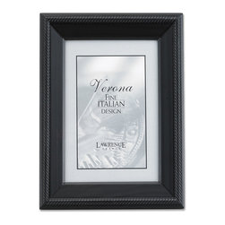 Lawrence Frames - Black Wood 4x6 Picture Frame - Tuxedo - Elegant black wood picture frame with intricate rope design bordering the outside.  High quality black wood backing with an easel for vertical or horizontal table top display, and hangers for vertical or horizontal wall mounting.    Hand finished 4x6 wood picture frame is made with exceptional workmanship and comes individually boxed.
