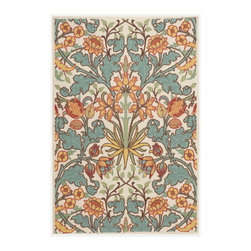 Nourison - Nourison Vista VIS58 4' x 6' Ivory Area Rug 13821 - When its design elements are perfectly placed, an oversized floral print assumes gorgeous geometric proportions. Featuring detail-enhancing hand carving and a glimmering color palette of gold, green, teal, crimson, orange, turquoise and ivory, this rug is the ultimate expression of exquisiteness.