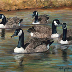 Oil Paintings by Cheri - Bird Fine Art Print, Canadian Geese, Canvas Giclee Print - 22x36 Canvas Giclee Print