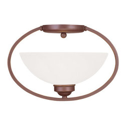 """Livex Lighting - Livex Lighting 4235 Somerset 13.5 Inch Wide Semi-Flush Ceiling Fixture - Livex Lighting 4235 Somerset One Light Semi-Flush Ceiling FixtureModern and stylish, the Somerset single light 13.5"""" wide mini pendant features a simple oval frame with a white alabaster glass bowl, making it a beautiful addition to your home.Livex Lighting 4235 Features:"""