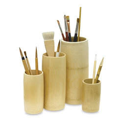 Yasutomo Bamboo Brush Holders - Keep your paintbrushes organized in these beautiful bamboo containers. They're ecofriendly and waterproof.