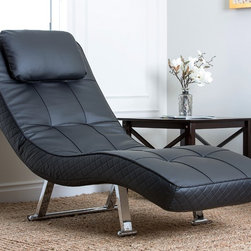 Abbyson Living - Abbyson Living Capri Black Euro Lounger - If you've been needing a comfortable and stylish chair for any space, then try this loungey, black Euro chaise. The chair features tufted detailing and a sturdy steel frame with chrome legs.