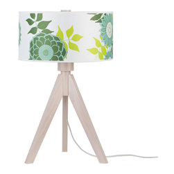 Lights Up! - Woody Table Lamp, Anna Green - Your style personality lights up any room. So, isn't it time your lamp followed suit? The tripod base on this funky table lamp is made from sustainably harvested wood and comes in your choice of black or pickled finishes. It holds one bulb and a dramatic drum shade available in several eye-popping colors, patterns and materials.