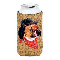 Caroline's Treasures - Pit Bull Dog Country Lucky Horseshoe Tall Boy Koozie Hugger - Pit Bull Dog Country Lucky Horseshoe Tall Boy Koozie Hugger Fits 22 oz. to 24 oz. cans or pint bottles. Great collapsible koozie for Energy Drinks or large Iced Tea beverages. Great to keep track of your beverage and add a bit of flair to a gathering. Match with one of the insulated coolers or coasters for a nice gift pack. Wash the hugger in your dishwasher or clothes washer. Design will not come off.