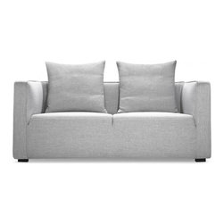 """Interior Define - Taylor 62"""" modern loveseat sofa - Interior Define's unique approach bypasses unnecessary middlemen and markups to provide high-quality, price-friendly, and made-to-order designs. The 62"""" Taylor loveseat is a snappy, compact design adept at playing the lead in smaller living spaces like apartments, or a strong supporting role in a variety of interior styles. Its one-piece seat cushion is divided by a single linear seam, indented a few inches from the top. This subtle detail emphasizes the couch's modern design while also accentuating its clean contemporary profile. The seat cushion is composed of high-resilience foam, topped with a thick cotton liner, and the loose back cushions are a supportive, supple blend of down feathers and cotton fiber. The Taylor is also available as a larger 80"""" sofa or as an accent chair. Standard dimensions: 62""""W x 37""""D x 35""""H. Standard fabric:"""