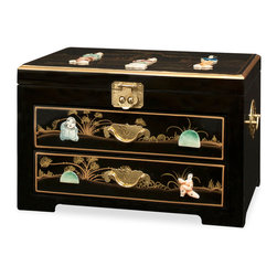 "China Furniture and Arts - Black Lacquer and Soap Stone Jewelry Chest - In China, the jewelry chest is one of the most important decorative objects on a woman's dresser. Decorated with soap stone figures, this beautiful jewelry chest has a mirrored lift-top and hand forged brass hardware. Consists of two drawers with interior dimensions of 10.5""W x 12.5""D x 1.5""H for plenty of jewelry storage space. The drawers and the top interior compartment are lined with red rose patterned felt. The top compartment offers additional storage with interior dimensions of 12.75""W x 8""D x .5""H. A perfect gift for every woman."