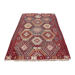 """Pre-owned Exclusive Barak Edition Kilim Rug - 5'6"""" x 9'3"""" - This is a vintage kilim rug from tribal areas of Southern Turkey, an area rug found in a dowry chest with no sign of use. It is a 100% handwoven rug woven on wooden loom by flat weave. It was made of finest animal fiber that of wool, on organic cotton fringes. All the fibers were colored with vegetable dyes in the area... It is a vintage item approximately 60 years old.    Care and Maintenance:  Regular vacuum cleaning and/or shaking the rug will remove loose dirt and fluff pile.  Immediate attention is required in case of spills. Liquids should be blotted with a clean undyed cloth, which is to be pressed firmly all around for maximum absorption.    Note from seller: all our rug's are handmade, professionally washed before listed & ready for use. Please kindly note that; the image color may differ from the actual item colors and colors may differ from screen to screen. Make sure to see our other listings…Good luck and happy shopping!"""