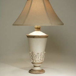 The Natural Light - Sausalito Table Lamp - Beautifully crafted of ceramic this table lamp displays a crackled finish and distressed leaf motif.  A hopsack beige shade completes its charming look. The Natural Light - 3185