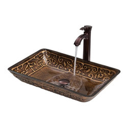Vigo Industries - 22.25 in. Vessel Sink and Faucet Set - Greek glass vessel sink and faucet set will become like an elegant piece of art in your home.