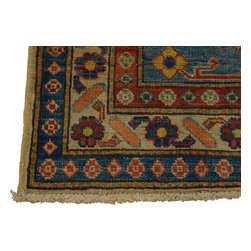 4'x5' Sky Blue Kazak Oriental Rug Hand Knotted Tribal Design 100% Wool Sh18360 - Our Tribal & Geometric hand knotted rug collection, consists of classic rugs woven with geometric patterns based on traditional tribal motifs. You will find Kazak rugs and flat-woven Kilims with centuries-old classic Turkish, Persian, Caucasian and Armenian patterns. The collection also includes the antique, finely-woven Serapi Heriz, the Mamluk Afghan, and the traditional village Persian rug.