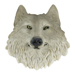 Zeckos - Gray Wolf Face Mini Bust Wall Hanging - This awesome, cold cast resin replica Gray Wolf wall mount is a prefect addition to any nature themed room. The head measures 8 1/2 inches tall, 7 1/2 inches wide and 3 1/2 inches deep. The detail is incredible, down to the hand painted eyes. This tiger's head is Brand New, and makes a great gift for any wolf lover.