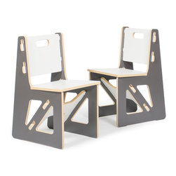 Quark Enterprises - Kids Chairs (2 Pack), Slate Gray/White - It's a welcome relief for most eco-minded folks to invest in kids furniture that's not plastic. These chairs are solid and surprisingly easy to assemble. And you'll love mixing and matching these pieces with other Sprout products.