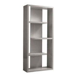 Eurostyle - Eurostyle Robyn Shelving Unit in Gray Lacquer - Shelving Unit in Gray Lacquer belongs to Robyn Collection by Eurostyle Why is it that when people think ��_��_��_bookshelves' they often think ��_��_��_boring'. Well it's probably because they haven't seen the Robyn shelving unit. An unusual set of shapes and lines, it looks pretty darn good empty! But wait��_��__.there's more. Shelving Unit (1)