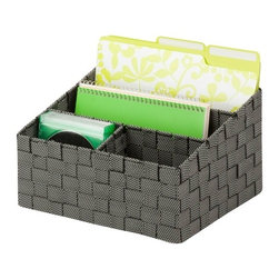 Mail And File Desk Organizer - Honey-Can-Do OFC-03690 Desk Organizer, Black/White. Perfect for organizing mail, notepads and other desktop essentials, this organizer features two large compartments and two small compartments for displaying its contents. The strong weave of the double woven straps and the durable steel wire frame ensure the items in the organizer will stay in one place. The modern design is practical and complements any home or office decor. Coordinates with other pieces in Honey-Can-Do's collection of double woven office products.