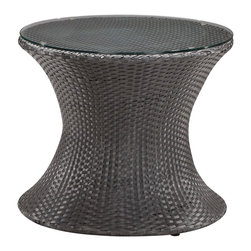 "Zuo - Horseshoe Bay 25 1/5"" Round  Outdoor Coffee Table - A truly unique outdoor piece the Horseshoe Bay coffee table brings fun and comfort to outdoor spaces. Constructed of a black finish UV treated synthetic weave this coffee table is elegantly topped with a clear tempered glass. Black finish. Woven design with aluminum tube frame. Tempered glass. 23"" High. 25 1/2"" round.  Black finish.   Woven design with aluminum tube frame.   Tempered glass.   Some assembly required.  23"" High.   25 1/2"" round."