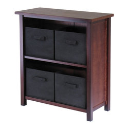 Winsome Wood - Winsome Wood Verona 2-Section M Storage Shelf w/ 4 Foldable Black Fabric Baskets - 2-Section M Storage Shelf w/ 4 Foldable Black Fabric Baskets belongs to Verona Collection by Winsome Wood This storage shelf comes with 4 foldable black fabric baskets. Warm Walnut finish storage shelf is perfect for any room in your home. Use it alone as bookcase/shelf or with baskets for a complete storage function. Assembly required for shelf. Shelf (1), Basket (4)