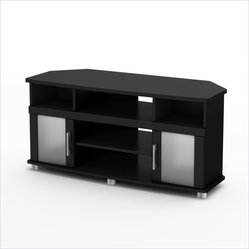 South Shore City life Collection Corner TV Stand in Pure Black