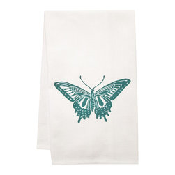 """artgoodies - Organic Block Print Swallowtail Towel - This high quality 100% certified organic cotton tea towel was custom made just for artgoodies! Hand printed with an original block print design by Lisa Price it measures 20""""x28"""" and has a convenient corner loop for hanging. Nice and absorbent for drying dishes, looks great when company is over, and makes a great housewarming gift!"""