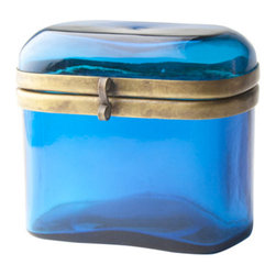 "Translucent Glass Box , Blue - Antique inspired one piece box. 4.5"" tall x 5"" Wide. Blue."