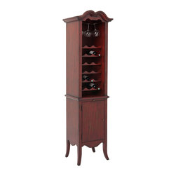 Ambella Home - Exeter Wine Cabinet - Cinnabar - Oenophiles, listen up! Your wine is sick of sitting in the closet, in a cardboard box turned sideways. They want a proper wine cabinet like this one. There's room for 18 bottles of the good stuff and your fine stemware too. And behind the doors is additional storage for all the other stuff you need.