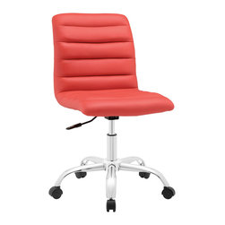 LexMod - Ripple Mid Back Office Chair in Red - As with the ripple after-effects caused by the toss of a pebble, there's no telling where the Ripple armless office chair will take you. For those who appreciate natural resolve, without the need to know the destination point, then Ripple is for you. Outfitted with a polished chrome steel frame and five dual-wheel casters for easy mobility over hardwood or carpeted surfaces, the padded vinyl Ripple armless office chair begins and ends with innovation. Ripple is perfect for conference rooms and workstations, features fine stitching and trim throughout, and comes fully height adjustable with a 360 degree swivel.