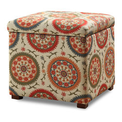 Kinfine - Multi Color Suzani Storage Ottoman - Add multi-functional style to your home with this bright storage ottoman. This statement piece comes in two bright fashion patterns and can be used to store magazines, throws, toys, accessories or anything else that is taking up too much space.
