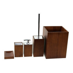 Gedy - Wooden 5 Piece Brown Bathroom Accessory Set - Trendy brown bathroom accessory set made from wood.