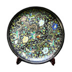 Golden Lotus - Chinese Black Color Phoenix Porcelain Plate Display - This is a vintage reproduction of Qing dynasty style porcelain plate with black theme color and greenish mixed color phoenix surrounded by flowers and scroll pattern.