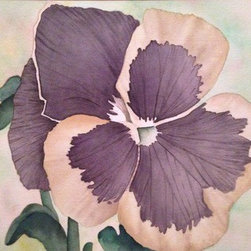 "Pansy (Original) by Heidi Fitzpatrick - This water color assignment was created to help demonstrate texture and fine detail. This piece is matted to a 13.5""x16.5"" black matte, inside a 14.75""x17.75"" frame."