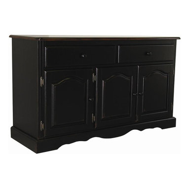 Sunset Trading - Eco-Friendly Traditional Buffet - American style classic piece. Sturdy quality craftsmanship. Offers abundant storage while providing distinct character. Large hand crafted solid wood and wood veneer buffet. Scalloped apron trim at bottom of base. Two large drawers with round knob handles for easy sliding. Three raised panel cathedral arch doors with adjustable shelf. Antique black base with contrasting finished cherry top. Warranty: One year. Made from Malaysian oak. Nutmeg finish. Made in Malaysia. No assembly required. 53 in. W x 18 in. D x 31 in. H (78 lbs.)This beautifully designed furniture supplied by Sunset Trading will assure you many years of use and enjoyment. Invite a touch of country warmth and beauty into your home with this from the Sunset Trading - Sunset Selections Collection. Versatile enough to complement your dining area, den or office. Appropriately multi-functional as your dining room buffet or den or office sideboard. For enhanced elegance pair this piece with the matching glass door and interior mirrored back hutch. Prominently display your china, books or family collectibles bringing warmth and classic beauty to your home. A timeless piece for generations to come!