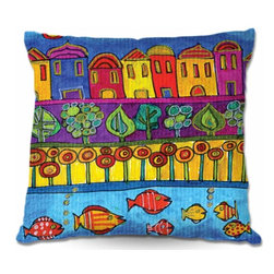 DiaNoche Designs - Pillow Woven Poplin - Fishing Village - Toss this decorative pillow on any bed, sofa or chair, and add personality to your chic and stylish decor. Lay your head against your new art and relax! Made of woven Poly-Poplin.  Includes a cushy supportive pillow insert, zipped inside. Dye Sublimation printing adheres the ink to the material for long life and durability. Double Sided Print, Machine Washable, Product may vary slightly from image.