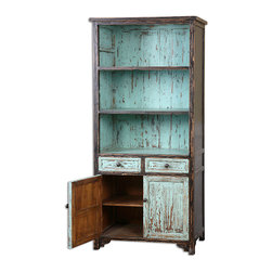Dunixi Bookcase - Place upon its shelves a collection of antique tomes, precious paper ephemera bundled with twine, or a gallery of photographs recalling timeless travels and dearly-held dreams. The Dunixi Bookcase is hand finished in charming robin's egg blue and dramatically distressed to reveal highlights of the natural, reclaimed fir wood grain.