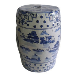 "Blue and White Porcelain Garden Stool For Indoor or Outdoor Use - Our authentic Blue and White 18"" high Chinese porcelain Garden Stool is painted and glazed in Canton landscape pattern on a white background. Three rings adorn the sides with arabesque patterns and Asian landscape painting. Carved thru double happiness are on sides and top. Any décor style will be enhanced by its traditional yet simple beauty. Garden stools can be used indoors and outdoors, as seats, plant stands, or side tables.  Use on a  11.5"" fishbowl stand to bring this item up to end table height."