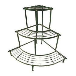 "Used Three-Tier Metal Corner Shelf - Quarter-round sturdy plant stand in hunter green. Each curved shelf measures 6.8"" deep with the piece 34.5"" across at the widest point. Vintage, but in very good condition with just some minor surface wear."