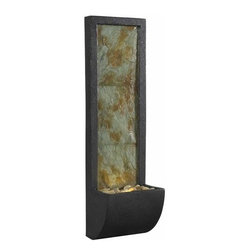 Kenroy Home - Kenroy Home 50200 Walla Natural Slate Lighted Indoor Wall Fountain - Kenroy Home 50200 Walla Natural Slate Lighted Indoor Wall FountainThe Walla indoor wall fountain has a gentle rush of water that twinkles on its lighted natural slate fa�ade and runs to its tough filled with polished river stones. With its contemporary look, sleek posture, and warm glow, this Walla indoor wall fountain will add a serene focal point to your space.Kenroy Home 50200 Features: