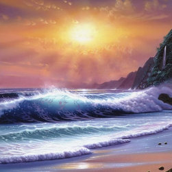 Murals Your Way - Tropical Paradise Wall Art - A beautiful tropical island gets an assist from the amazing colors of the sunset in this wall mural